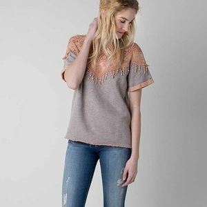 BKE Gimmicks washed gray tee coral lace top raw